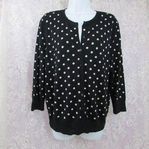 Ellen Tracy Polkadot Cardigan Sweater Large